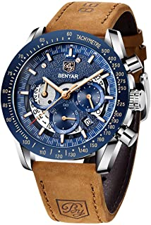 BY BENYAR Montre chronographe pour Homme Montre de Sport d'affaires de Mode Mouvement à Quartz 30M étanche et Anti-Rayures...