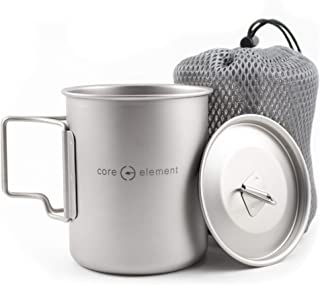 Core Element Dual Purpose Camping Mug or Pot with Lid - 100% Titanium 450 ml / 15 oz Suitable for Open Fire Direct Flame (...