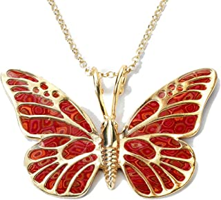 Gold Plated 925 Sterling Silver Large Butterfly Necklace for Women Colorful Handmade Polymer Clay Pendant Handcrafted Jewelry, 16.5