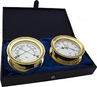 مجموعة هدايا من ماستر مارينر باتريوت من الزجاج البحري، ساعة بقطر 14 سم وأدوات قياس الراحة، بلمسة نهائية ذهبية، قرص عاجي وطني