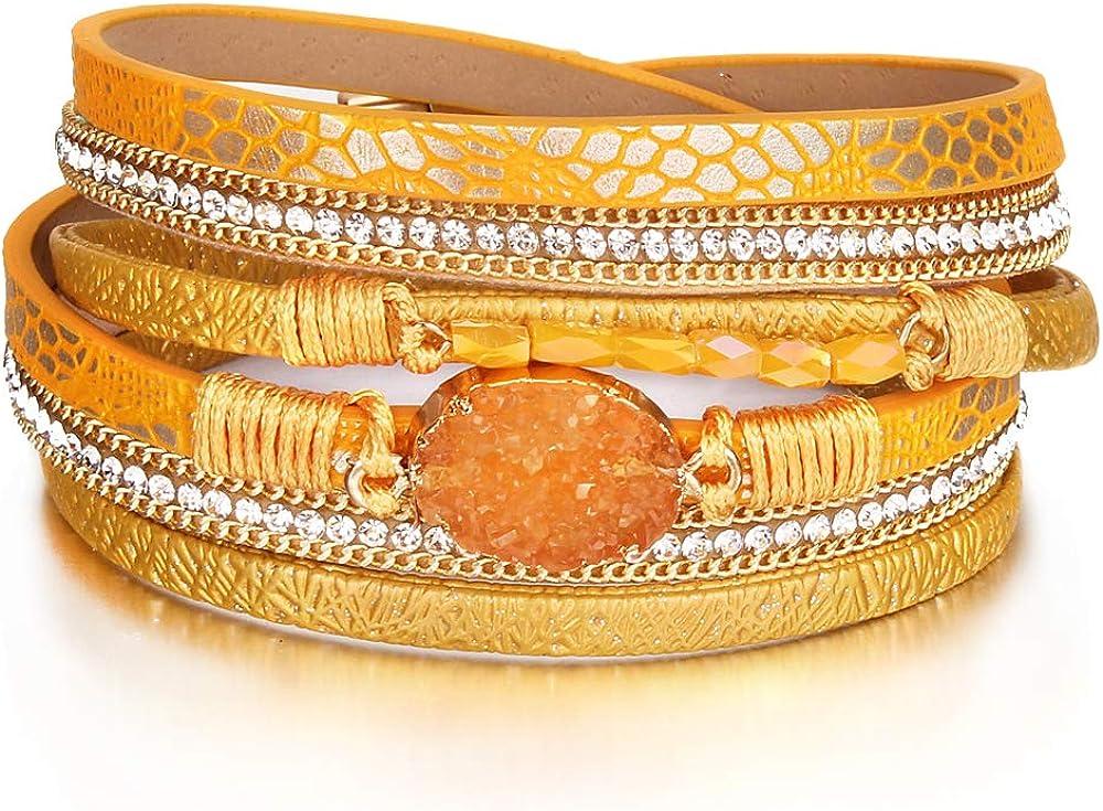 Beauty Ranking TOP5 products FANCY SHINY Leather Wrap Bracelet Cuff Crystal Be Bracelets Boho