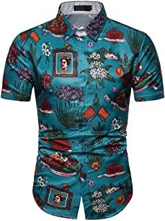 PERSOLE Men's Hawaiian Shirts Relaxed Fit Shorts Sleeve Tropical Leaves Allover Print Aloha Shirts Beach Party Casual Tees Multi Colors
