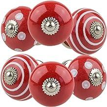 Gałka meblowa gałka meblowa zestaw 6 szt. 107GN punkty okręgi czerwone - Jay guzik ceramika porcelana ręcznie malowane gał...