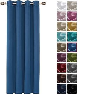 comprar comparacion Deconovo Cortinas Opacas Térmicas Aislantes Frío y Calor de Salón Moderna 1 Pieza con Ojales 132 x 160 cm Azul