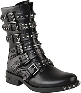 Womens Studded Ankle Boots Buckle Biker Strappy Flat Shoes Size