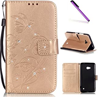 Microsoft Lumia 640 Case, ISADENSER Butterfly Embossed PU Leather Case Glitter Crystal Magnet Closure Flip Wallet Stand Case with Card Slots for Nokia Lumia 640 + 1 Touch Pen (Diamonds Gold)