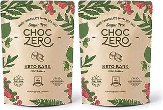ChocZero's Keto Bark, Dark Chocolate Hazelnuts with Sea Salt. Sugar Free, Low Carb. No Sugar Alcohols, No Artificial Sweet...