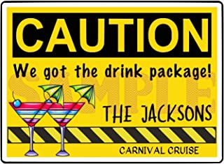 Large Caution Drink Package Sign Magnet for Cruise Door, Royal Caribbean, Carnival Cruise, Princess, Holland America, Norwegian, Celebrity Cruises, Cruise Line Sign Door Magnet