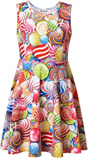Girls Summer Dress Sleeveless Printing Casual/Party 3-13Years