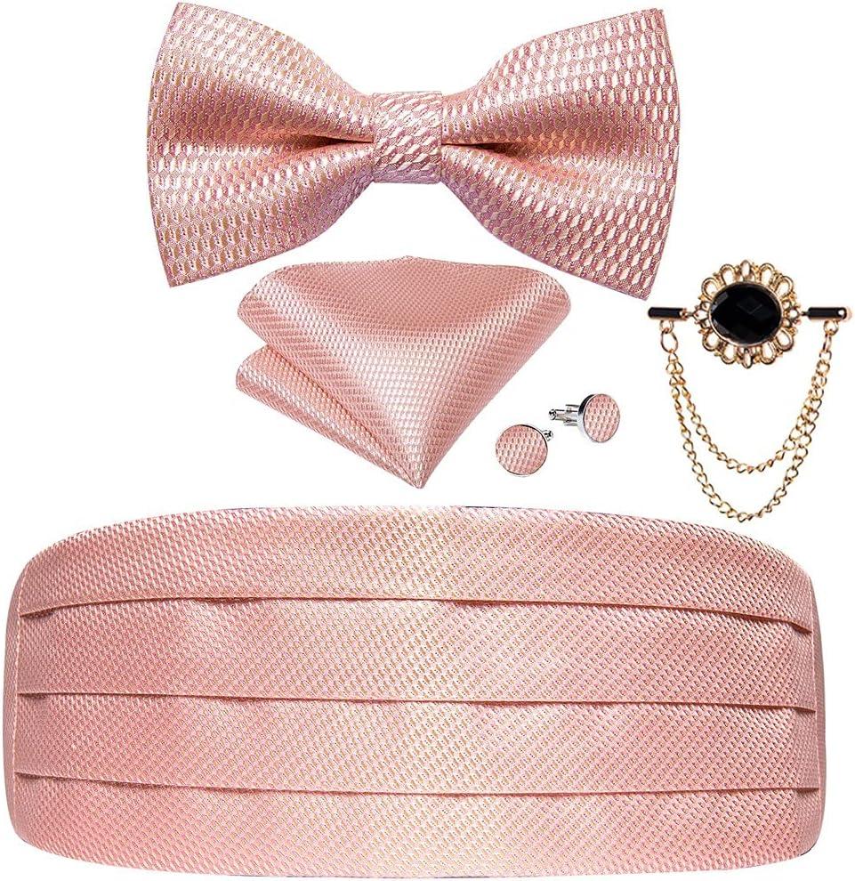 WODMB Pink Solid Silk Men's Cummerbunds Bow Tie Set Wedding Formal Prom Cummerbunds Elastic Waistband Wide Belt (Color : Pink, Size : One size)