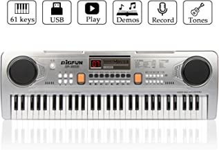 JINRUCHE 61 Keys Kids Piano Keyboard Portable Electronic Musical Instrument Multifunction Early Learning Educational Toy for Kids Toddlers Children (Silver)