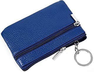iSuperb RFID Genuine Leather Coin Purse Zipper Pouch Card Case Wallet with Key Ring
