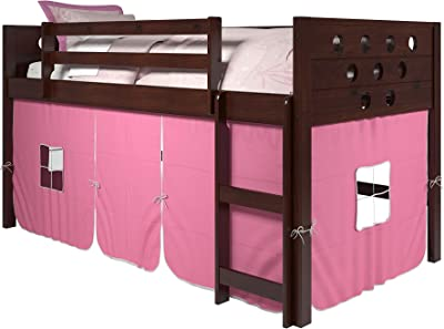 DONCO KIDS Circles Low Loft Bed with blue Tent, Twin, Dark Cappuccino