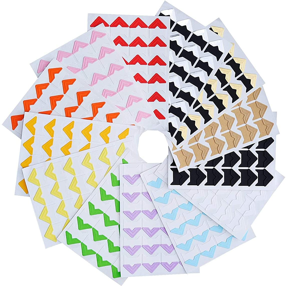 Kbnian Photo Corners 312PCS Self Adhesive Photo Mounting Protector with Squares Multicolored Photo Paper Holder for Scrapbooking Album Dairy Journal
