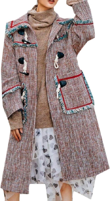 LEISHOP Womens Tweed Woolen Tassel Maxi Long Plaid Overcoat Jacket Pea Coat