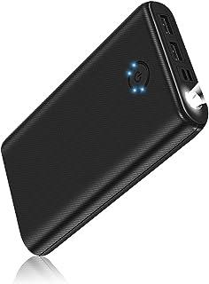 モバイルバッテリー超大容量 26800mAh 高輝度ライト付き/コンパクト/滑り止め仕様 PSE認証済 2種類入力ポートと2USB出力ポート 急速充電 2台同時充電可能 iPhone/iPad/Android対応 出張/地震/災害/アウトドアなどの必携品 (A1260-1)