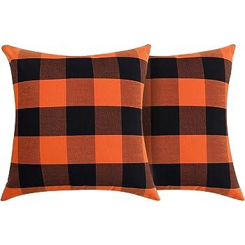 Volcanics Buffalo Check Plaid Throw Pillow Covers Set of 2 Farmhouse Decorative Square Pillow Cover Case Cushion Pillowcase 18x18 Inches for Home Decor Sofa Bedroom, Orange and Black
