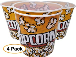 Extra Large Popcorn Bucket/Container / Bowl (4 Pack) thick plastic Reusable (92 oz.) Yellow Red Retro Style