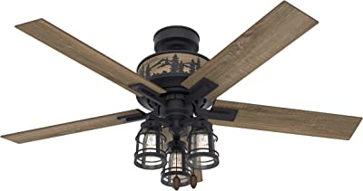 """Hunter Mt. Vista Indoor Ceiling Fan with LED Lights and Pull Chain Control, 52"""", Natural Iron"""