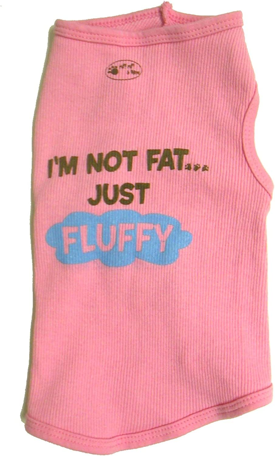 Ruff Ruff and Meow ExtraSmall Doggie Tank Top, I'm Not Fat Just Fluffy, Pink