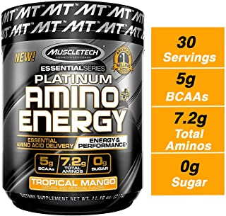 MuscleTech Essential Series Platinum Amino Plus Energy BCAA Powder, Tropical Mango, 11.19 Ounce, 30 Serving