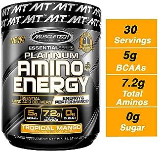 MuscleTech Essential Series Platinum Amino Plus Energy BCAA Powder, Tropical Mango, 11.19 Ounce, 30 Serving