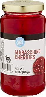Amazon Brand - Happy Belly Maraschino Cherries in Glass Jar, 10 Ounce