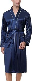 Akalnny Mens Dressing Gowns Lightweight Bathrobe Pure Kimono Satin Robe Nightwear with Pocket