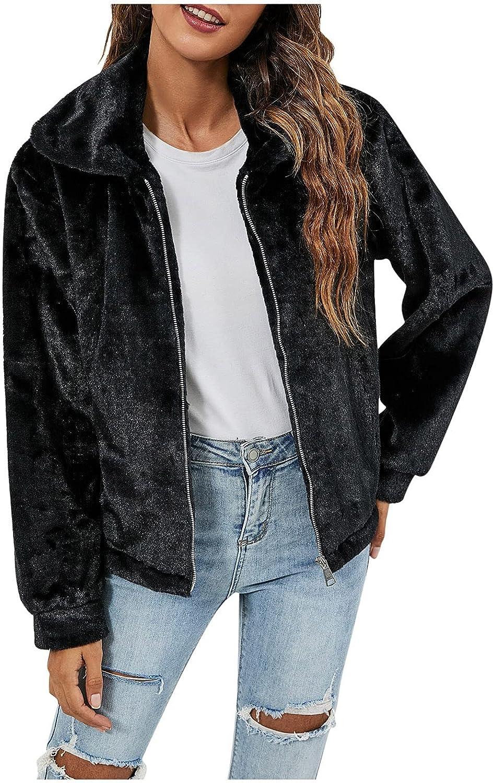 Women's Fuzzy Fleece Jacket Coat Faux Fur Winter Warm Short Hoodie Coat Long Sleeve Zip Up Cardigan Outerwear