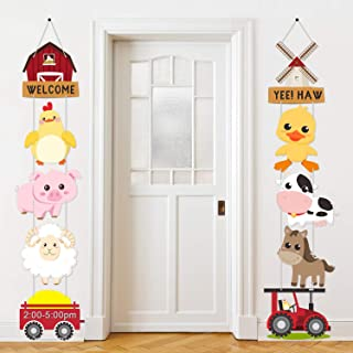 Farm Animal Themed Party Decorations, Farm Animal Cutouts Banner, Farm Animals Theme Party Door Signs for Baby Shower Fami...