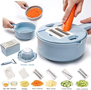Vegetable Slicer - 10 in 1 Vegetable Cutter and Shredder - Kitchen Multipurpose Grater with Guard and Egg white Separator - Low Carb Meals Veggie&Food Dicer (Blue -10 in 1)