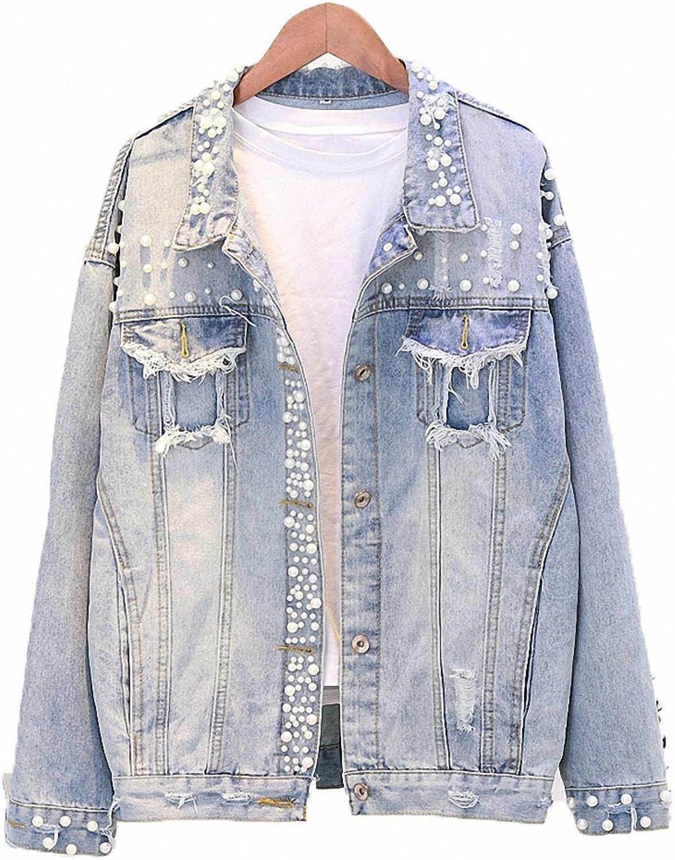 Hiuwa Womens Denim Jacket Peal Bead Hole Cowboy Short Coat Loose Vintage Casual