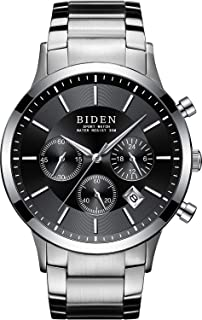 Mens Watches Chronograph Stainless Steel Waterproof Date Analog Quartz Watch Business Wrist Watches for Men