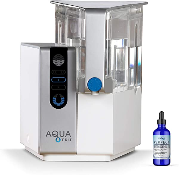 AQUA TRU Countertop Water Filtration Purification System With PERFECT MINERALS DROPS Exclusive 4 Stage Ultra Reverse Osmosis Technology No Plumbing Or Installation Required BPA Free