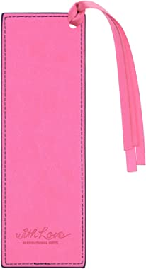 With Love Faux Leather Bookmark Begin Each Day with A Grateful Heart w/Satin Ribbon Tassel, Pink/Blue Floral
