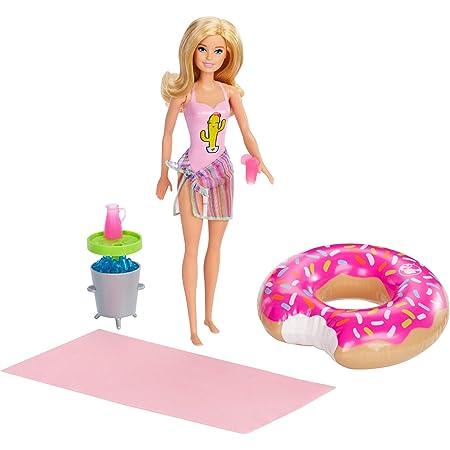 Barbie- Playset Bambola Bionda Pronta per la Festa in Piscina, con Accessori, Giocattolo per Bambini 3+ Anni, Multicolore, GHT20