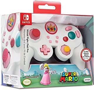 Nintendo Switch Super Mario Bros Princess Peach GameCube Style Wired Fight Pad Pro Controller by PDP, 500-100-NA-D5