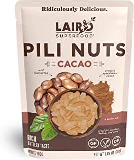 Laird Superfood Cacao Pili Nuts - Vegan and Keto Snacks, Low Carb and High Fat On The Go Fuel, 3, 1oz Packs