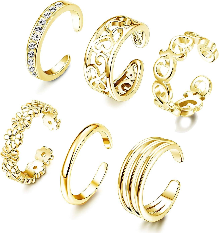 FUNRUN JEWELRY Genuine 6PCS Adjustable Toe Ring for Tai Girls Rare Open Women