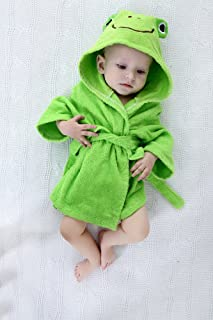 Baby Robe Towel Frog Green Hooded Bathrobe Infant Toddler Rompers,1-2years