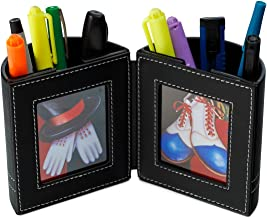 Desk Organizer , Pen and Pencil Holder with Picture Frame By Pensali - Office Supplies Space Saver - Made of Premium Suede Base Faux Leather Strong Magnetic Clasp Attractive Design - Black