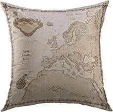 Mugod Decorative Throw Pillow Cover Old Europe Map Vintage Mediterranean Home Decor Pillow case 18x18 Inch