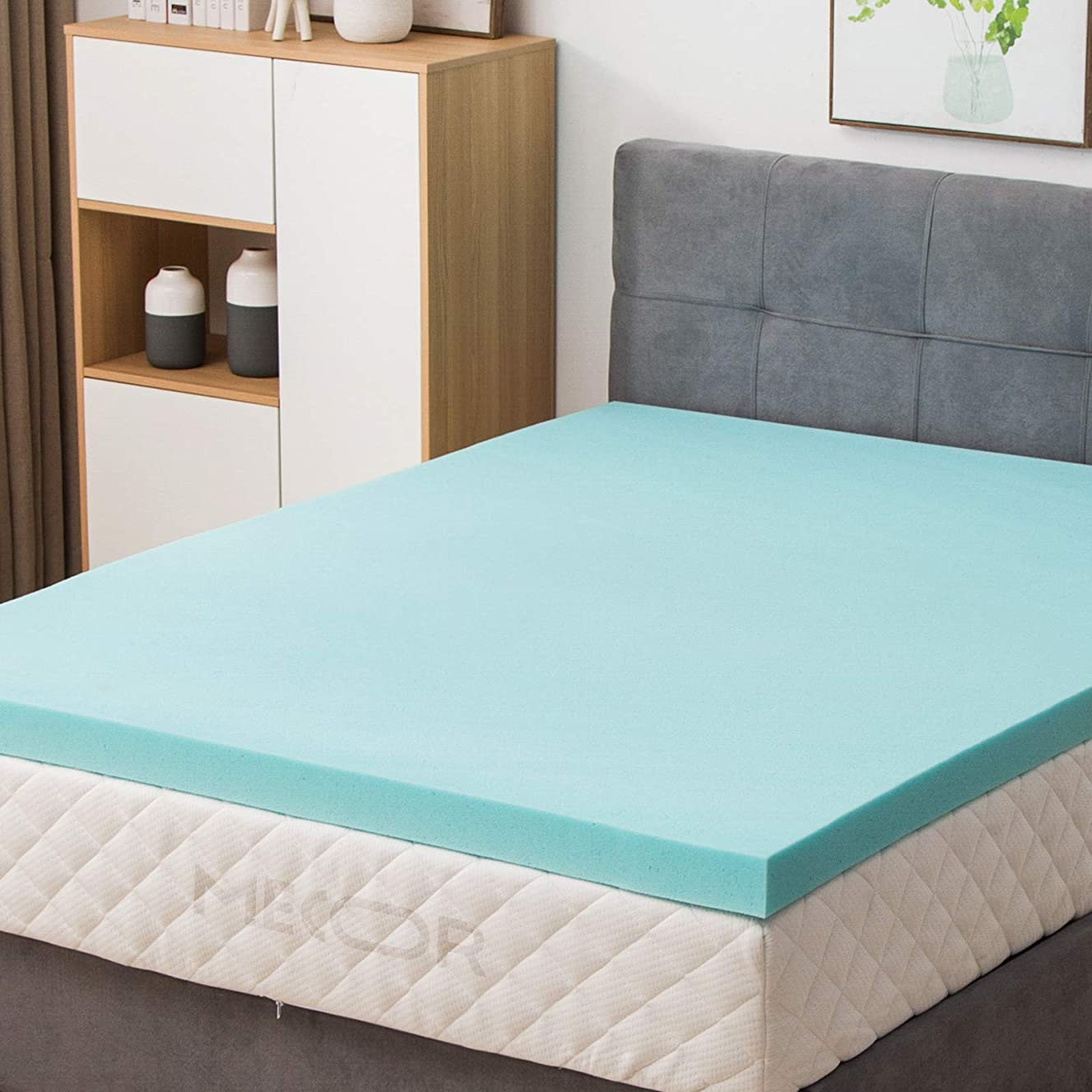 "Mecor 4 Inch 4"" Mattress Topper Queen-Gel Infused Memory Foam Mattress Topper w/CertiPUR-US Certified Foam, Soft but Firm Support, Blue"