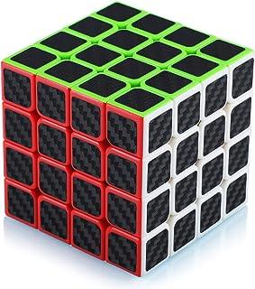 Cube de Vitesse Magique 4x4 4x4x4 Speed Cube Magic Cube Fibre de Carbone Autocollant Cadeau de Vacances pour Enfants Adult...