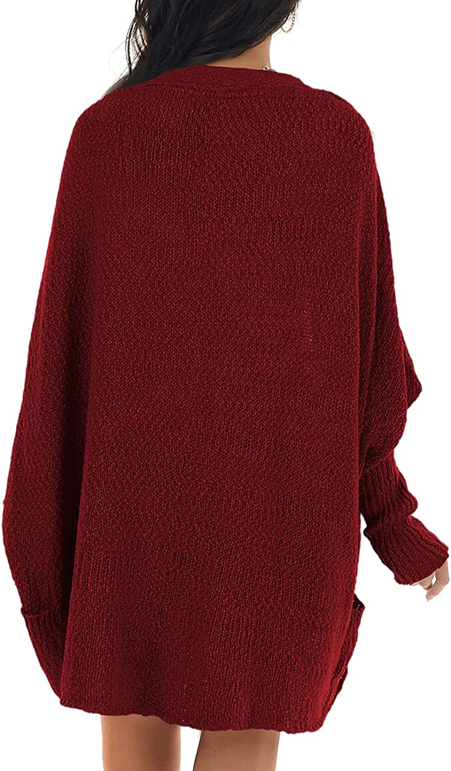 Womens Shawl Collar Long Dolman Sleeve Open Front Cardigan Casual Loose Cable Knitted Sweaters with Pockets