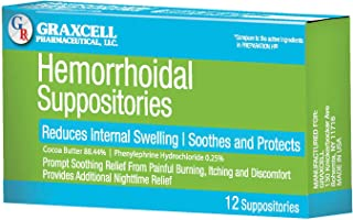 Graxcell Hemorrhoidal Suppositories, 12 Count, Green