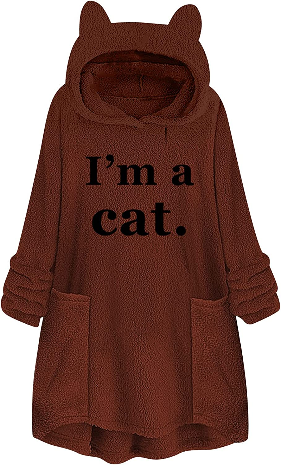Kanzd Cat Ear Hooides Fashion Pullover for Max 51% OFF Long Fle Sleeve Women