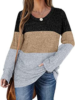Sponsored Ad - Haloumoning Women's Long Sleeve Crew Neck Sweater Color Block Loose Pullover Jumper Tops