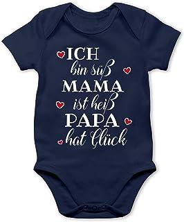 Shirtracer Sprüche Baby - Ich Bin süß Mama ist heiß Papa hat Glück Herzen - Baby Body Kurzarm für Jungen und Mädchen