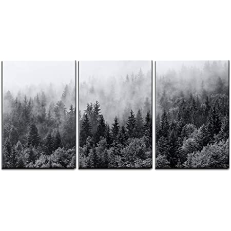 Amazon Com Wall26 3 Piece Canvas Wall Art Mountain Forest In Fog Modern Home Art Stretched And Framed Ready To Hang 24 X36 X3 Panels Home Kitchen